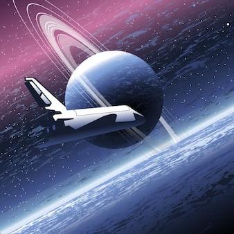 Ruimteschip in het heelal