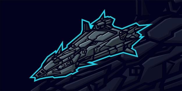 Ruimteschip mascotte logo voor gaming twitch streamer gaming esports youtube facebook