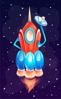 Ruimteschip of raket in de ruimte. concept van ruimtepictogram voor computerspel