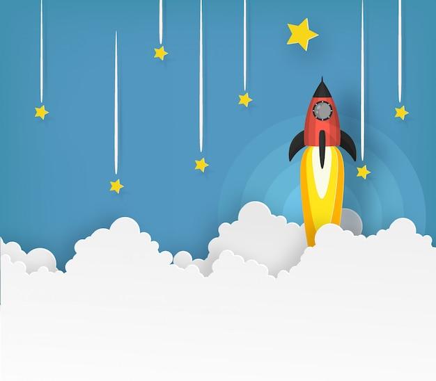 Ruimteschip of raketlancering in de lucht over de wolken gaat naar de ster.
