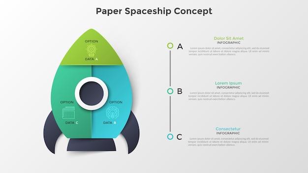 Ruimteschip of ruimtevaartuig verdeeld in 3 kleurrijke delen. concept van drie opties of stappen voor de lancering van het opstartproject. papier infographic ontwerpsjabloon. moderne vectorillustratie voor presentatie.
