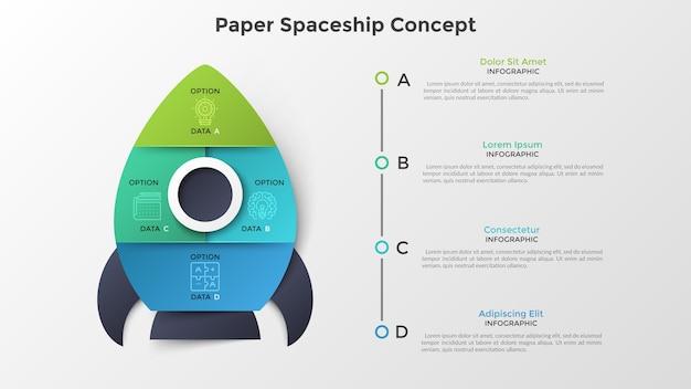 Ruimteschip of ruimtevaartuig verdeeld in 4 kleurrijke delen. concept van vier opties of stappen voor de lancering van het opstartproject. papier infographic ontwerpsjabloon. moderne vectorillustratie voor presentatie.