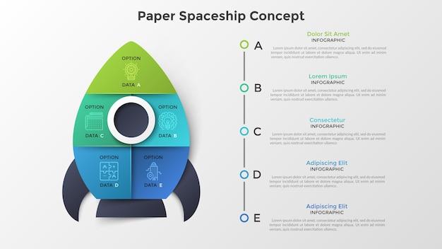 Ruimteschip of ruimtevaartuig verdeeld in 5 kleurrijke delen. concept van vijf opties of stappen voor de lancering van het opstartproject. papier infographic ontwerpsjabloon. moderne vectorillustratie voor presentatie.