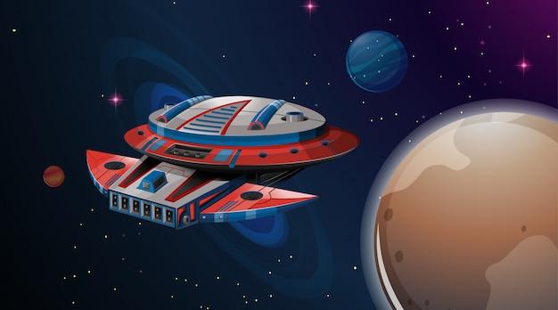 Ruimteschip planeet scène