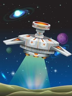 Ruimteschip stijgt op van de planeet