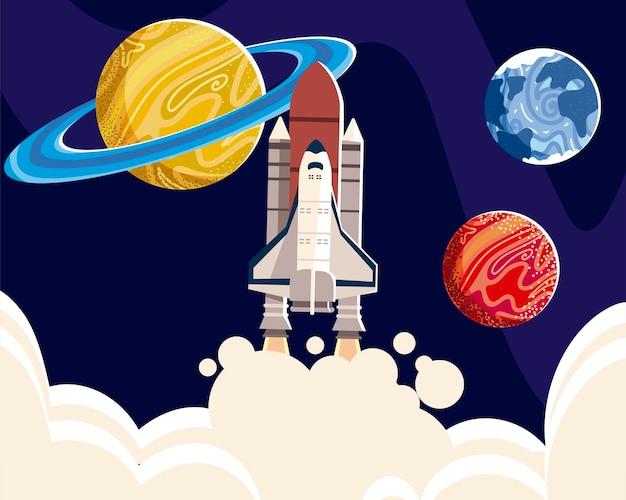 Ruimteschip verkennen planeten universum melkweg illustratie