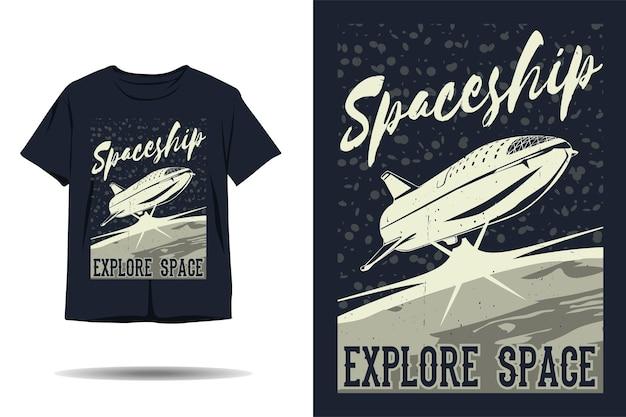 Ruimteschip verkennen ruimte silhouet tshirt ontwerp