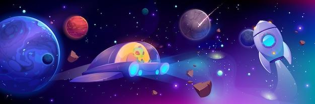 Ruimteschip vliegt in de melkweg