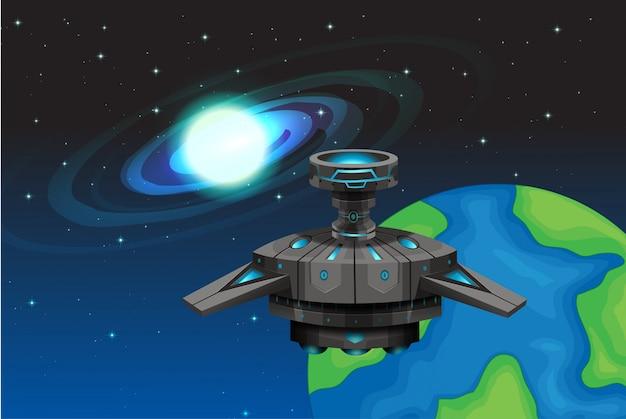Ruimteschip zwevend in de ruimte