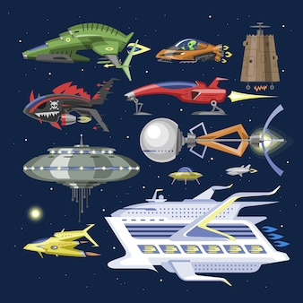 Ruimteschipruimtevaartuig of raket en ruimtelijke ufo-illustratiereeks uit elkaar geplaatst schip of raketschip in heelalruimte op achtergrond