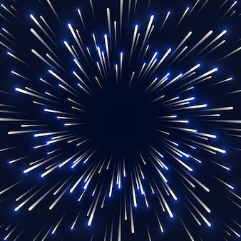 Ruimtesnelheid achtergrond vervagen bewegingslichten deeltjesbewegingspaden