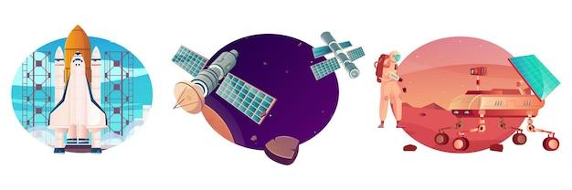 Ruimtetechnologie set van geïsoleerde composities met platte afbeeldingen van raket met satelliet en mars rover illustratie