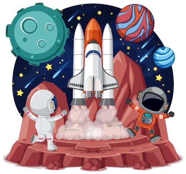 Ruimtethema met astronauten en ruimteschip geïsoleerd op een witte achtergrondgeluid