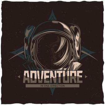 Ruimtethema t-shirtontwerp met illustratie van dode astronaut