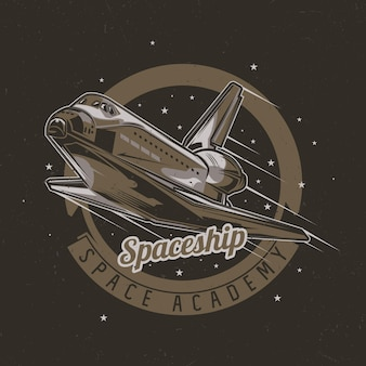 Ruimtethema t-shirtontwerp met illustratie van ruimteschip