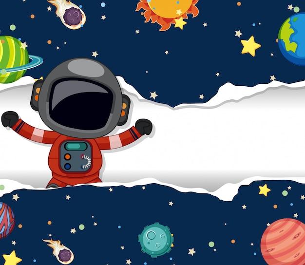 Ruimtethemaachtergrond met astronaut die in de ruimte vliegen