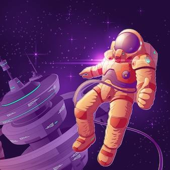 Ruimtetoerist die pret op de illustratie van het baanbeeldverhaal hebben.