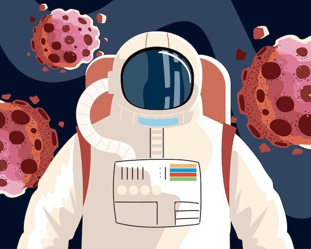 Ruimteverkenner, kosmonaut of astronaut in ruimtepak met illustratie van asteroïden