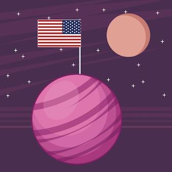 Ruimteverkenning en planetenbeeldverhaal