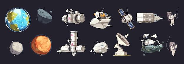 Ruimteverkenning geïsoleerde reeks schepenplaneten van kosmonauten van het zonnestelsel in ruimtepakken in buitenkosmos geïsoleerde pictogrammen geplaatst illustratie