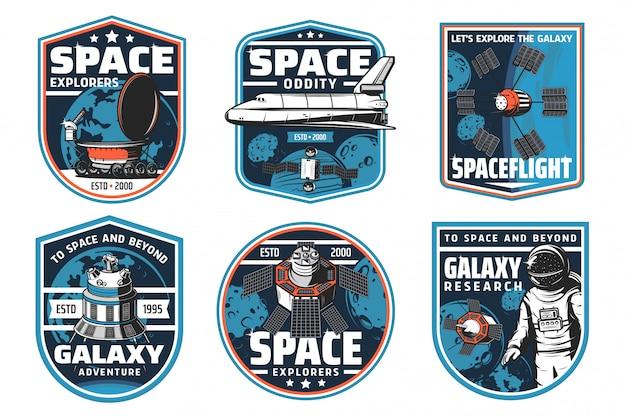 Ruimteverkenning, ruimteschip en astronautenpictogrammen Premium Vector