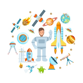 Ruimtevlucht astronaut op schip en kosmische apparatuur vector