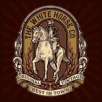 Ruiter die een paard berijdt voor vintage kentekensjabloon