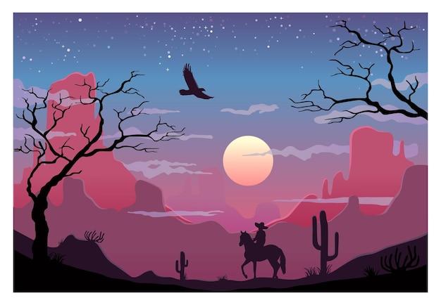 Ruiter mexicaans in sombreroritten in de woestijn. bergen en cactus op achtergrond panorama zonsondergang hemel met wolken. vector egale kleur illustratie