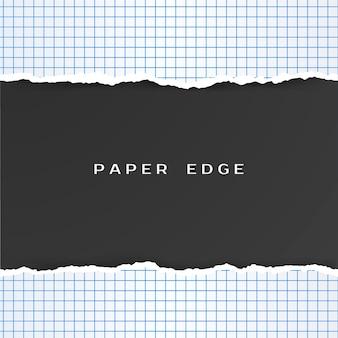 Ruitjespapier met gescheurde rand