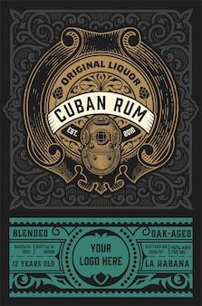 Rum label vintage retro