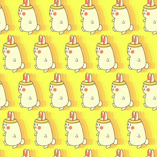 Run konijntje naadloze hand getekend patroon