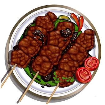 Rundvlees saté sate daging indonesië eten voorgerecht eenvoudig gerecht stijl geserveerd met chilisaus