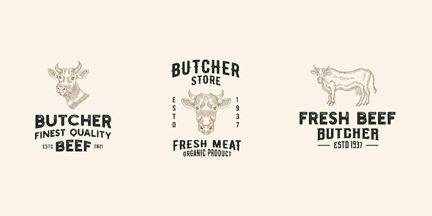 Rundvlees winkel logo ontwerp premium sjabloon vector, slagerij, vleeswinkel, koeienboerderij