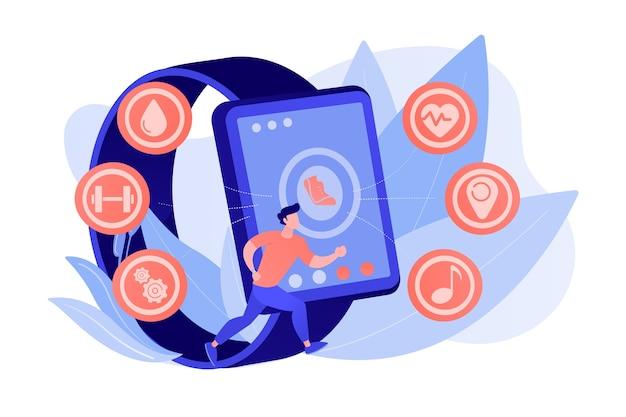 Runner maakt gebruik van smartwatch-sport- en gezondheidsapps. fitness-tracker, activiteitenband, gezondheidsmonitor en pols gedragen apparaatconcept pinkish coral bluevector isolated illustration