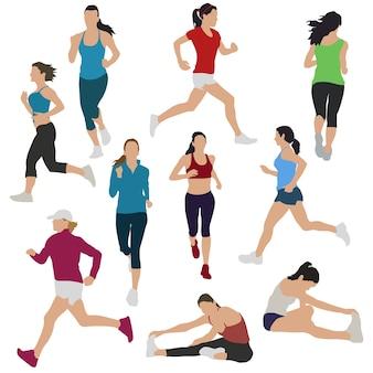 Runners girls womans urban sport silhouette illustraties