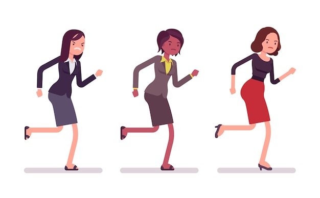 Runnig zakenvrouwen in formele slijtage
