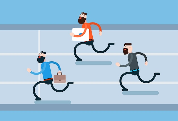 Running business man group haast tegenstanders