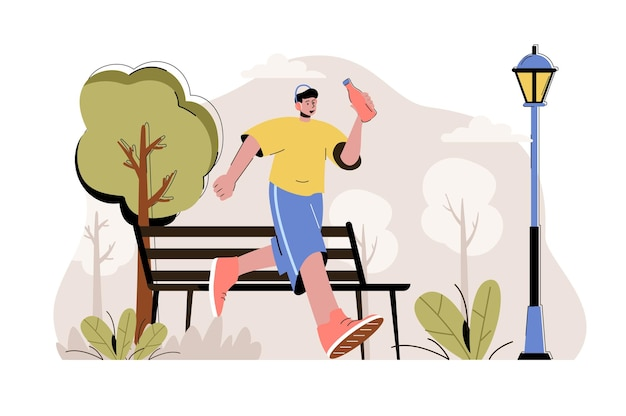 Running concept man loopt in park sportactiviteit