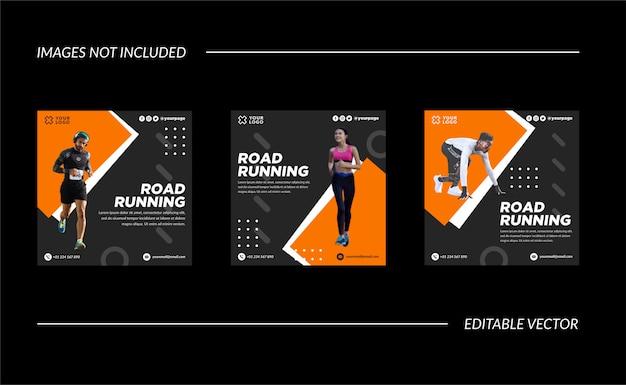Running event oranje en grijs social media post