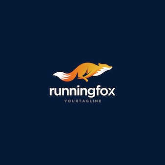 Running fox logo-ontwerp met eenvoudige en moderne stijl premium vector