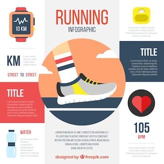 Running infographic met platte artikelen