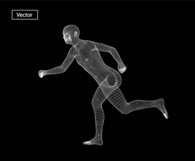 Running man draadframe kunst illustratie. veelhoekige ruimte laag poly met verbonden punten en polygoonlijnen. 3d draadframe mesh