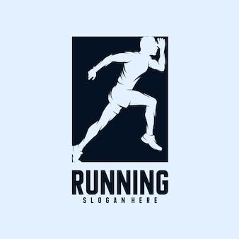 Running man silhouet logo ontwerpen