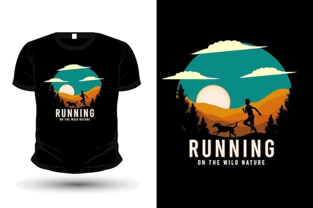 Running on the wild nature merchandise silhouette t-shirt design