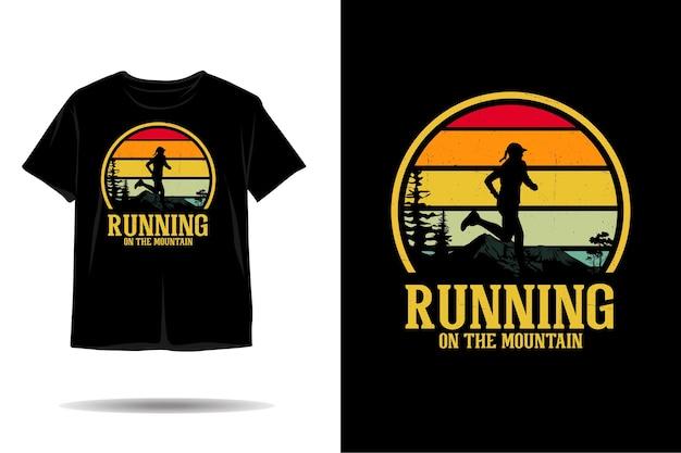 Running op berg silhouet tshirt ontwerp