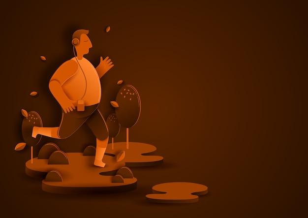 Running paper cut style, een foto van een man die gelukkig rent.