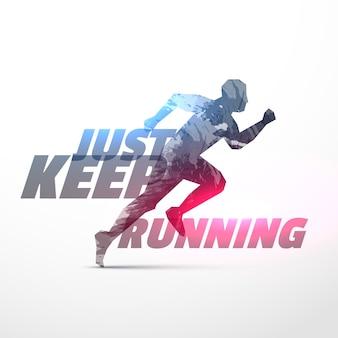 Running persoon mde met gemaakt met grunge met lichteffect
