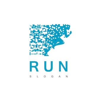 Running pixel logo design