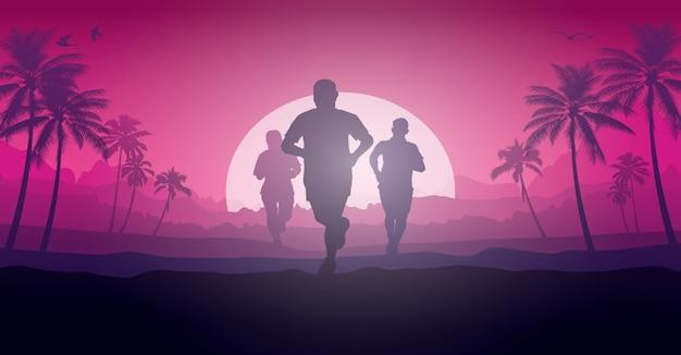 Running silhouetten illustratie.