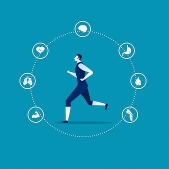 Running voordelen sjabloon infographic met een man en pictogrammen l vector